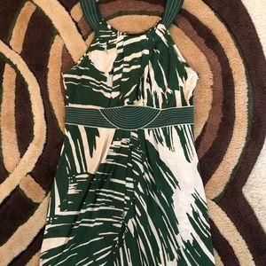 BCBG Max Azria Halter Dress Green & Cream Palms M